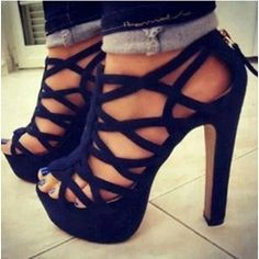Sexy Black Suede Cut-Outs Chunky Sandals
