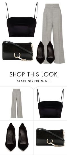"""""""Black outfit with grery detail"""" by maja-kristiansson on Polyvore featuring Casasola, Maison Margiela and Chloé"""