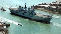 Grand entrance of HMS Illustrious. British Aircraft Carrier, Hms Illustrious, Royal Navy Aircraft Carriers, Flight Deck, Navy Ships, Grand Entrance, Battleship, Brother, Random