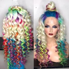 [New] The 10 Best Makeup Ideas Today (with Pictures) - Taste the rainbow Im loving those colors tag 3 friends who would look good rocking this style Pretty Hairstyles, Wig Hairstyles, Hairstyle Ideas, Hair Ideas, Curly Hair Styles, Natural Hair Styles, Pretty Hair Color, Coloured Hair, Unicorn Hair