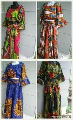 MULTI-COLOR African Ankara / Dashiki Print ( Various Sizes) Women's 2 pcs blouse n elastic waist skirt!! Skirt has 2 splits ( 1 on each side) Limited Supply! #ankara #dashiki #african #summer #africanfashion #etsy