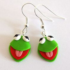 Kermit Earrings Sesame Street Earrings The Muppet Show by omifimo