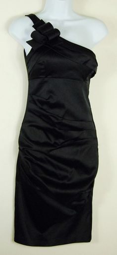 Betsy & Adam 4 Small Black One-shoulder Cocktail Dress Bodycon Bow Prom Party #BetsyAdam #Bodycon #Cocktail