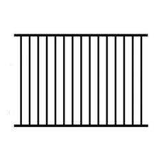 4 ft. H x 6 ft. W Aluminum Black Unassembled Metropolitan 2-Rail Fence Panel