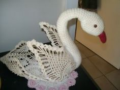 Vintage Large Crochet Cream Swan Laquered Orament 30cm Long Hand ...