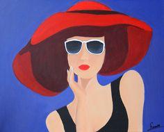 dame met rode hoed 40x50