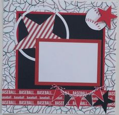 Baseball premade scrapbook layout page by ohioscrapper on Etsy
