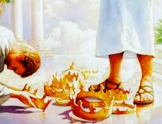 Casting our crowns at the feet of Jesus, prophetic art painting. Image Jesus, Jesus Christ Images, Jesus Art, Bible Pictures, Jesus Pictures, Heaven Pictures, Revelation 4, Christian Artwork, Christian Quotes