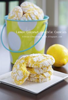 Lemon Coconut Crackle Cookies    4 tsp grated lemon zest (or mix with lime zest)  1/2 cup flaked sweetened coconut  2 cups whipped dairy topping  2 eggs  1 tsp lemon juice  1/4 cup powdered sugar  1 (18.25 oz) package lemon cake mix  Powdered sugar for coating