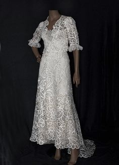 Hand-assembled tape lace two-piece wedding dress, c.1905, from the Vintage Textile archives.