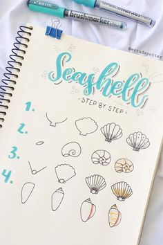Best step by step ocean doodle tutorials and ideas for your bullet journal! If you're starting an ocean theme in your bullet journal, you need to check out these adorable step by step doodles for inspiration to get going! Bullet Journal Banner, Bullet Journal Notebook, Bullet Journal Ideas Pages, Bullet Journal Inspiration, Art Journal Pages, Bullet Journals, Journal Prompts, Doodle Art For Beginners, Easy Doodle Art
