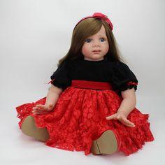 Reborn Toddler Puppe 60 cm Großes Mädchen Vinyl Weich Lebensechte Babys Spielzeug Lange Haare Perücke Fridolin Baby Lebendig Echt Überraschungen Puppe(China (Mainland))