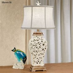 Sand and shell coastal table lamp with cfl bulb bulbs shell and praia starfish coastal table lamp mozeypictures Image collections