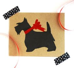 """$5 Eco-friendly, block-printed Scottie holiday card (or set of 6 for $18). Black or Red. Blank inside for your personal message. Back: logo stamp. Size: A2 4.25"""" x 5.5"""" Carefully packaged in a clear sleeve and gift wrapped to ensure a safe arrival. All products are block-printed by hand. These cards are perfect for framing as a """"mini print"""" and all sales support animal rescue! https://www.etsy.com/listing/166432782/scottie-holiday-card-or-set-of-6-eco?ref=shop_home_active_3"""