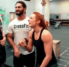 """WWE Superstars Seth Rollins (Colby Lopez) in the gym with his girlfriend """"The Man"""" Becky Lynch (Rebecca Quin). #WWE #wwecouples #wwewags #boyfriend #girlfriend #dating #couple #relationship #family #wrestling #wrestler #2019 #GIF Wwe Seth Rollins, Seth Freakin Rollins, Wwe Pictures, Wwe Photos, Seth Rollins Girlfriend, Becky Wwe, Rebecca Quin, Wwe Couples, Wwe Female Wrestlers"""