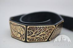 NEW Elven Fantasy Medieval Style Leather Belt with Etched Brass Accents ren sca