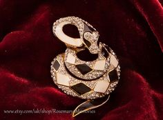 Attwood & Sawyer vintage snake brooch, black and white enamel, gold plate (?) and crystals, stunning piece A and S, snake jewellery, by RosemarysMemories on Etsy https://www.etsy.com/listing/482689545/attwood-sawyer-vintage-snake-brooch