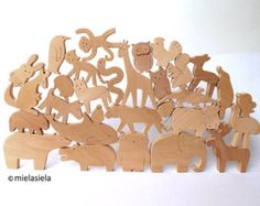 Wooden jungle animals Elephant Lion Monkey Giraffe от mielasiela