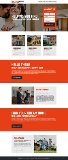 real estate agency dream property lead capturing landing page design