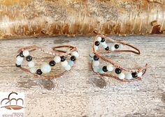 BR-1410-B handforged copper, amazonite and black onyx bracelet