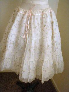 Vintage Embroidered Crinoline Scallop Hem by SweetRepeatVintage,