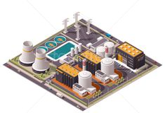 Vector isometric icon or infographic element representing low poly nuclear power station, reactors, power lines and nuclear energy generation related facilities Design Isométrico, Game Design, Vector Design, Flyer Design, Design Ideas, Isometric Map, Isometric Design, Nuclear Energy, Nuclear Power