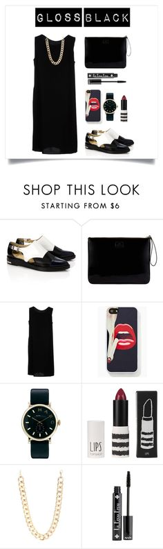 """""""Gloss black"""" by dian-lado ❤ liked on Polyvore featuring Toga, Lulu Guinness, Aspesi, Marc by Marc Jacobs, Topshop, Jane Norman and NYX"""