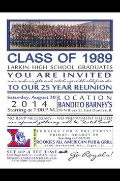 Fun high school reunion invitation.