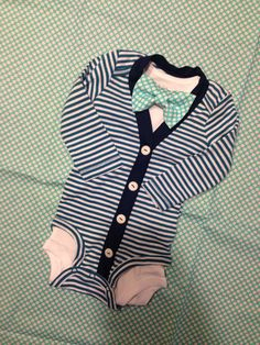 A personal favorite from my Etsy shop https://www.etsy.com/listing/222062602/boys-cardigan-onesie-and-bowtie-set-baby