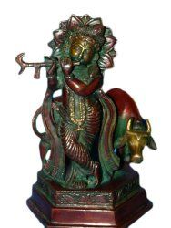 Religious Statue Krishna Brass Sculpture Playing Flute 7 Inch $139.00