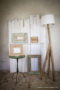 CreativeBox.it: Cornici e lampada realizzate con legno di recupero