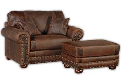 "Perfect cuddle chair! ""Jesse James"" oversized chair and ottoman - dark leather with hand tooled accents"