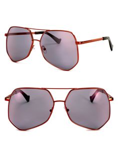 f39257addd Grey Ant Megalast 61Mm The Wire Hexagon Aviator Sunglasses - Red One Size  Gray Hexagon Sunglasses