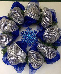 Christmas wreath deco mesh wreath blue Christmas by FunWithWreaths
