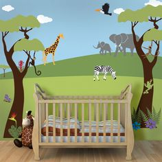 Tree Mural, Jungle Wall Stencils for Baby Nursery Wall Mural, Large Jungle Safari Theme Wall Stencils - FREE SHIPPING (USA). $99.99, via Etsy.