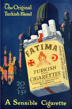 Fatima, The Original Turkish Blend Cigarettes, early Vintage Advertisements, Vintage Ads, Vintage Cigarette Ads, Barber Shop Decor, Kawaii Doodles, Coffee Drawing, Advertising Poster, Advertising History, Best Ads