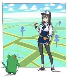 ♥ Girl... Pokeball... Pokémon GO!... Pokémon Trainer... Black Hair... Anime ♥