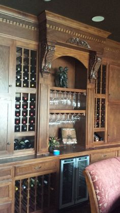 Custom beverage / wine cabinet built on corner space, remodel ...