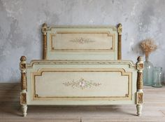 SALE Stunning Vintage French Sage Green Bed.