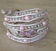 Handcrafted Breast Cancer Awareness 5x Wrap Leather Beaded Bracelet #designerbracelet #goldenhandscreations #breastcancerbracelet by goldenhandscreations, $68.00