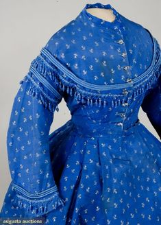 Blue Silk Brocade Day Dress, Bodice Close Up