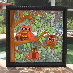 Stained Glass Mosaic Repurpose Frame Owls Tree Window