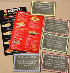 Give students real life math experiences with restaurant math task cards!