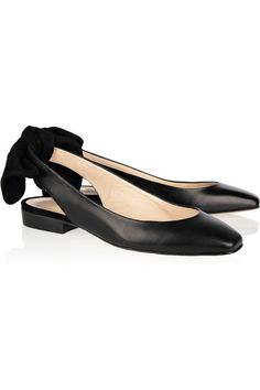 Carven | Bow-detailed leather and suede slingbacks | Why are you $320? :(