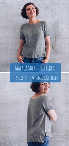 Das Shirt Mapala von Rosa P wird nahtlos von oben nach unten glatt rechts mit einer Rundpasse gestrickt. Für das Saumbündchen werden Vorderteil und Rücken getrennt voneinander in Runden im Bündchenmuster gestrickt – dabei ist das vordere Bündchen kürzer als das hintere. Die kurzen Ärmel werden in Runden gearbeitet. Crochet Hats, Shirts, Pullover, Sweaters, Fashion, Stockinette, Separate, Knitting Needles, Wardrobe Closet