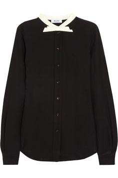 Moschino|Bow-neck silk crepe de chine blouse|NET-A-PORTER.COM