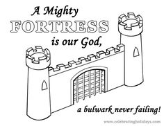 Free Reformation Day Coloring Page (A Mighty Fortress)