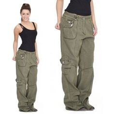 Womens Army Green Baggy Loose Cargo Pants Wide Boyfriend Combat Trousers Jeans in Clothes, Shoes & Accessories, Women's Clothing, Trousers Cargo Jeans, Cargo Pants Outfit, Green Cargo Pants, Cargo Pants Women, Trouser Jeans, Pants For Women, Trousers, Green Jeans, Women's Pants