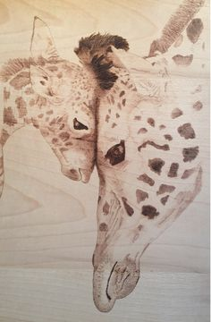 Pyrography Mother&Doughter Giraffe