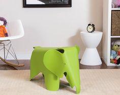 Mid Century Mod Style Minimalist Sculptural Green Elephant Shaped Table Stool